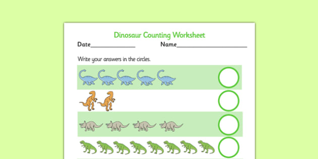 My Counting Activity Sheet (Dinosaurs) - Counting worksheet, dinosaur, counting, activity, how many, foundation numeracy, counting on, counting back, history, t-rex, stegosaurus, raptor, iguanodon, tyrannasaurus rex, numeracy, numbers, counting, work