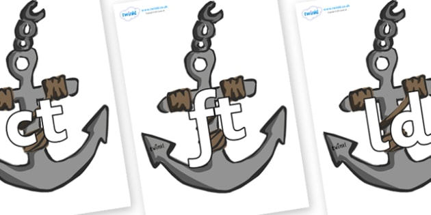 Final Letter Blends on Anchors - Final Letters, final letter, letter blend, letter blends, consonant, consonants, digraph, trigraph, literacy, alphabet, letters, foundation stage literacy