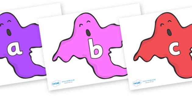 Phase 2 Phonemes on Ghosts (Multicolour) - Phonemes, phoneme, Phase 2, Phase two, Foundation, Literacy, Letters and Sounds, DfES, display