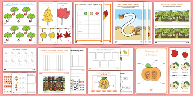 All about Fall Early Childhood Activity Pack - fall, autumn, leaves, apples, pumpkins, scarecrows, all about fall, fall activity, fall activities