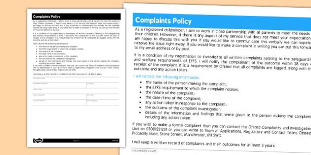 Childminder Complaints Policy - child minder, complaint, rules
