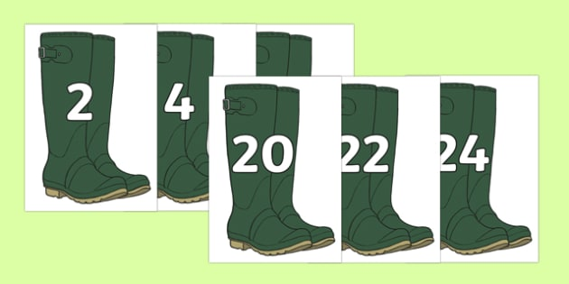 Multiples of 2 on Wellies Welly Boots - multiples of 2, 2, multiples, numbers, wellies, welly boots