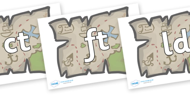 Final Letter Blends on Treasure Maps - Final Letters, final letter, letter blend, letter blends, consonant, consonants, digraph, trigraph, literacy, alphabet, letters, foundation stage literacy