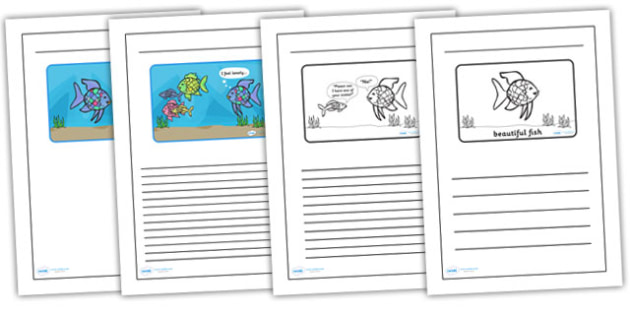 Black and White Lined Writing Frames to Support Teaching on The Rainbow Fish - the rainbow fish, the rainbow fish colour and write, the rainbow fish writing frames, templates
