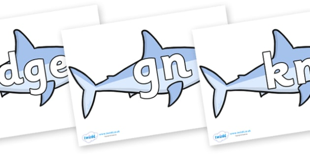Silent Letters on Sharks - Silent Letters, silent letter, letter blend, consonant, consonants, digraph, trigraph, A-Z letters, literacy, alphabet, letters, alternative sounds