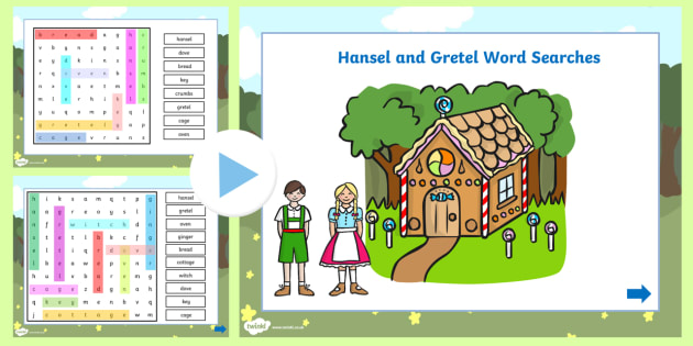Hansel and Gretel Interactive Wordsearch - wordsearch, hansel