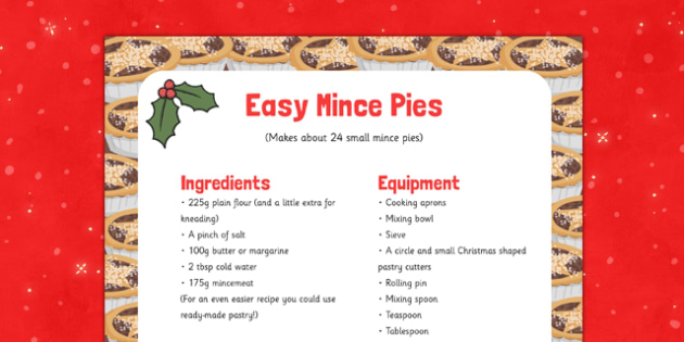 Easy Mince Pie Recipe - EYFS, Early Years, recipe, baking, Christmas