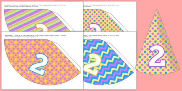 2nd Birthday Party Hats - 2nd birthday, 2nd birthday party, party, party hats, new parents, one year old, baby