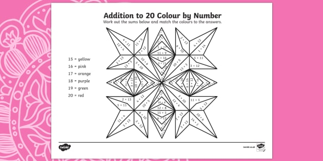 Rangoli Patterns Addition to 20 Colour by Number - rangoli pattern, rangoli, pattern, diwali, festival of light, colour by numbers, addition