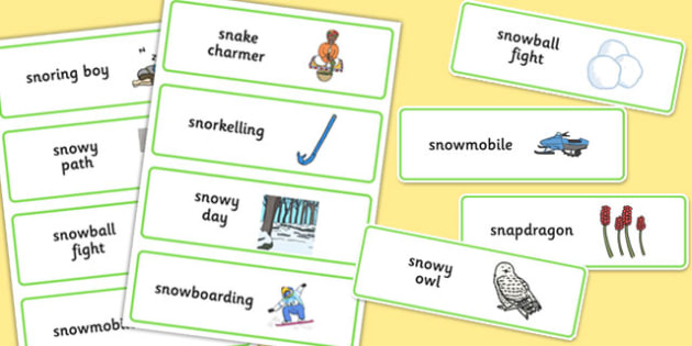 Three Syllable 'SN' Word Cards - sn sound, syllable, word cards, sound