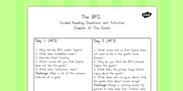 Guided Reading Questions Chapter 6 to Support Teaching on The BFG - australia, bfg, guided reading
