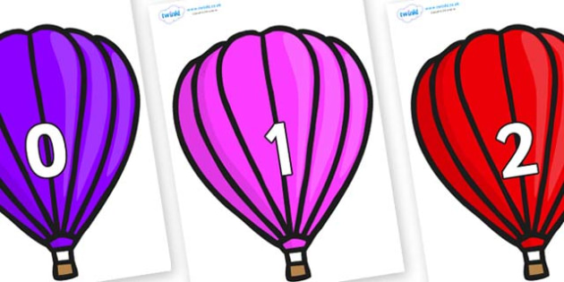 Numbers 0-100 on Hot Air Balloons (Plain) - 0-100, foundation stage numeracy, Number recognition, Number flashcards, counting, number frieze, Display numbers, number posters