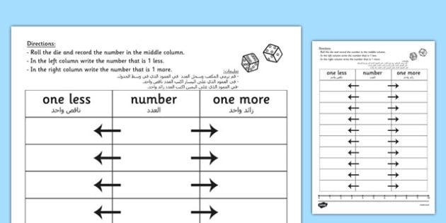 One More One Less Dice Activity Worksheet Arabic Translation - arabic, dice games, numeracy