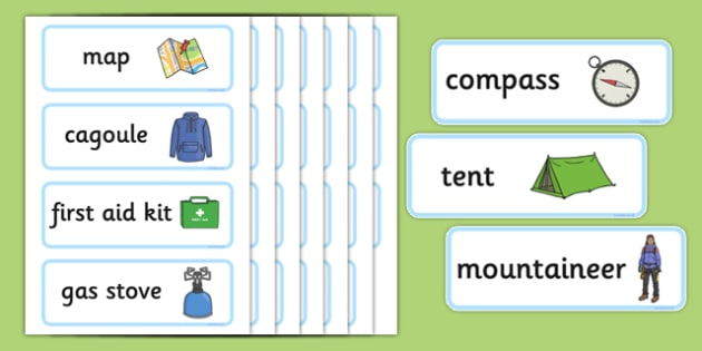 Mountain Survival Topic Word Cards - Mountain, mountains, survival, mountain survival, topic, geography, word cards, cards, flashcards, map, cagoule, first aid kit, rucksack, backpack, gas stove, walking boots, what to you need