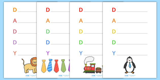 Fathers Day 'Daddy' Acrostic Poem Templates - fathers day, fathers day acrostic poem, fathers day acrostic poem templates, daddy, daddy acrostic poem, poem