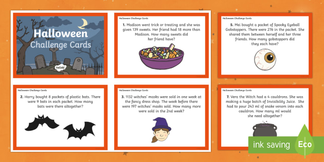 LKS2 Halloween Combined Calculations Challenge Cards