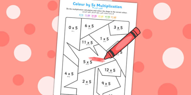 Colour by 5s Multiplication Arabic Translation - arabic, colour, 5, multiplication