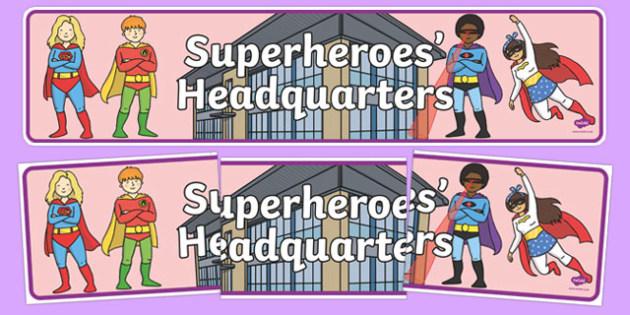 Superheroes Headquarters Display Banner - superheroes, headquarters, display banner, display, banner