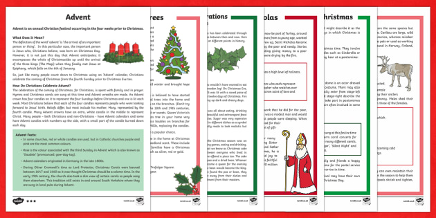 KS2 Christmas Differentiated Reading Comprehension  Activity Pack - Christmas, Nativity, Jesus, xmas, Xmas, Father Christmas, Santa, history of Christmas, Christmas tre