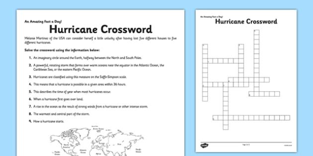 Hurricane Crossword Activity Sheet - hurricane, fact of the day, activity, worksheet