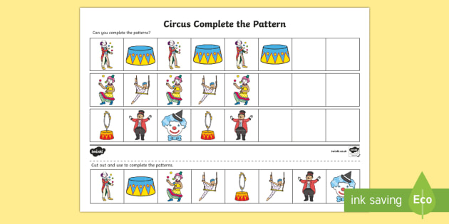 Circus Complete The Pattern Worksheet Patterns Drawing