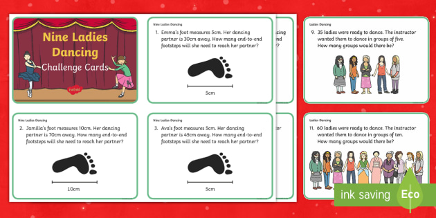 Nine Ladies Dancing Challenge Cards - Christmas Maths, add, addition, plus, total, altogether, find, equals, solve, reason, reasoning, inv