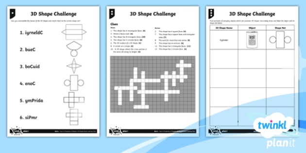 PlanIt Y6 Properties of Shapes 3D Shapes Home Learning Tasks - Properties of Shape, 3D shapes, shape nets, vertices, edges, faces