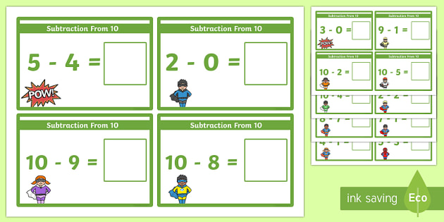 Subtraction From 10 Cards - subtraction, cards, 10, from 10