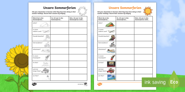 Summer Holiday Questionnaire Activity Sheet German - Back to School, School, holidays, German