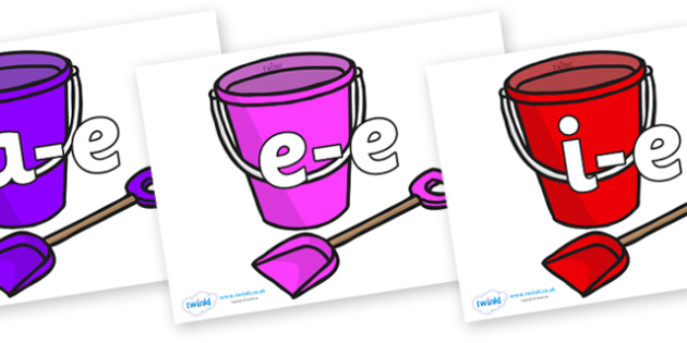 Modifying E Letters on Spade and Buckets - Modifying E, letters, modify, Phase 5, Phase five, alternative spellings for phonemes, DfES letters and Sounds