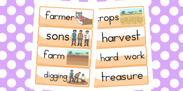 The Farmer and His Sons Word Cards - australia, word, cards