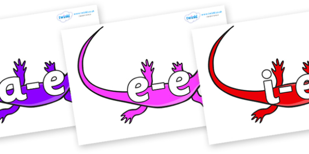Modifying E Letters on Skink Lizards - Modifying E, letters, modify, Phase 5, Phase five, alternative spellings for phonemes, DfES letters and Sounds