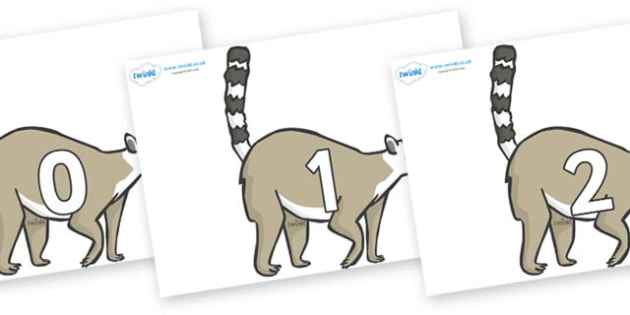 Numbers 0-31 on Lemurs - 0-31, foundation stage numeracy, Number recognition, Number flashcards, counting, number frieze, Display numbers, number posters