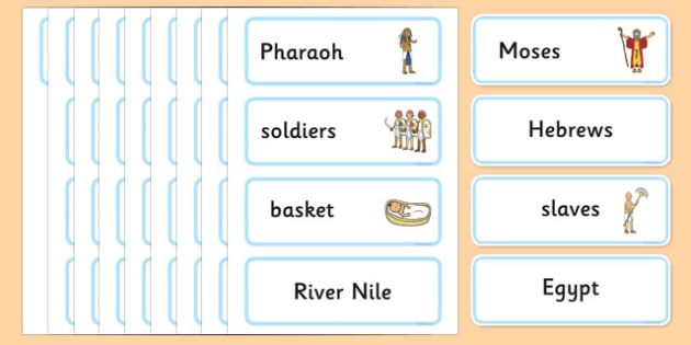 Moses Word Cards - Moses, Egypt, Hebrews, slaves, Pharaoh, basket, God, word card, flashcards, cards, palace, shepherd, burning bush, plague, Primised Land, law, stone, ten commandments, bible, bible story