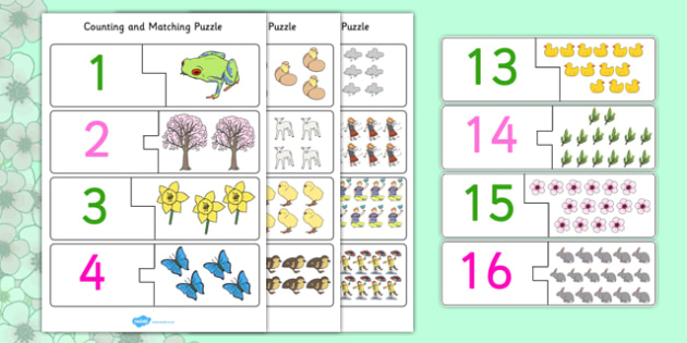 Spring Themed Counting Matching Puzzle - spring, puzzles, games