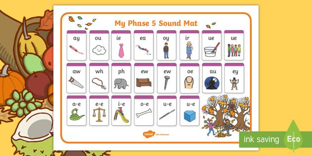 Autumn Themed Phase 5 Sound Mat - autumn, phase 5, phase five, sound mat, phase 5 sound mat, autumn themed sound mat, themed sound mat, phase 5 sounds