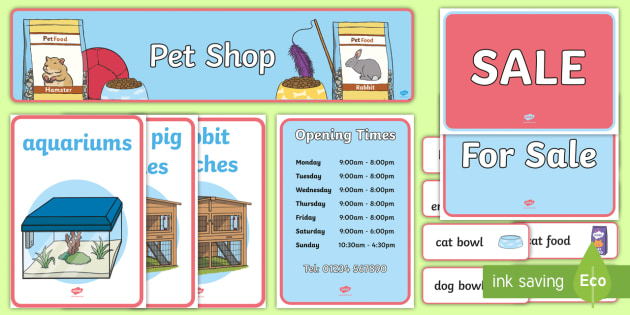 Pet Shop Role Play Pack - Pet Shop, role play, Display signs, display, labels, pack, cat, dog, rabbit, mouse, guinea pig, rat, hamster, gerbil, horse, puppy, kitten, snake, chinchilla, snail, lizard, budgie