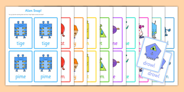 Phonics Screening Check Alien Snap Matching Cards