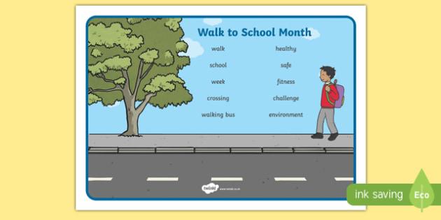 Walk to School Month Word Mat