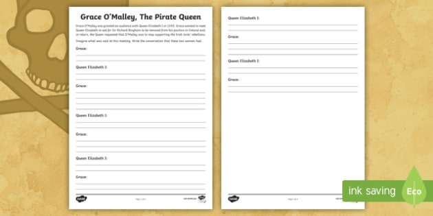 Grace O'Malley Meets Queen Elizabeth I Activity Sheet-Irish - Requests - ROI, history, Grace O'Malley, Gráinne Mhaol, The Pirate Queen,Irish