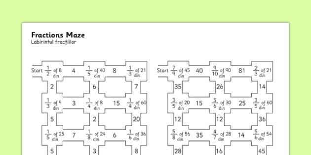 Fractions Maze Romanian Translation - romanian, fractions, fractions maze, fractions worksheet, fractions activity, fractions puzzle, numeracy maze, ks2 numeracy worksheet, ks2 numeracy