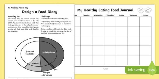 Design a Food Diary Activity Sheet, worksheet