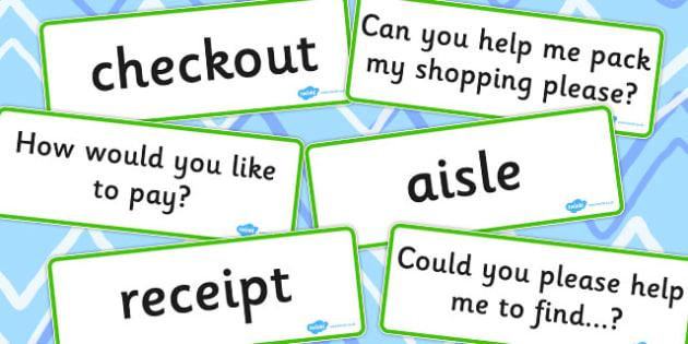 Supermarket Vocabulary Cards - supermarket, vocabulary, cards
