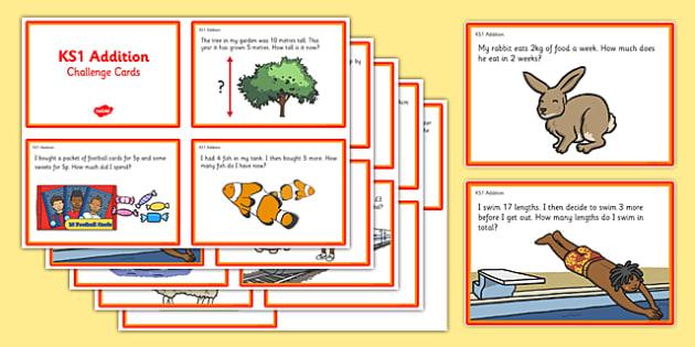 KS1 Addition Maths Challenge Cards - addition, challenge, cards