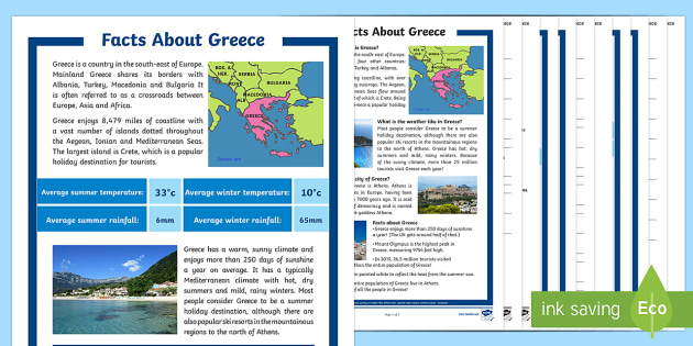 Facts About Greece Differentiated Reading Comprehension Activity - KS2, facts, Greece, Europe, climate, islands, coastline, population, geography, mainland, mountains,