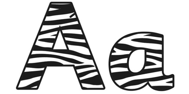 Zebra Pattern Display Lettering - safari, safari lettering, safari display lettering, zebra lettering, zebra pattern lettering, zebra pattern, zebra skin