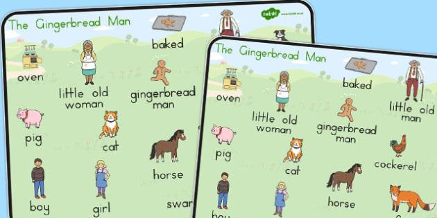 The Gingerbread Man Word Mat - australia, gingerbread man, word mat