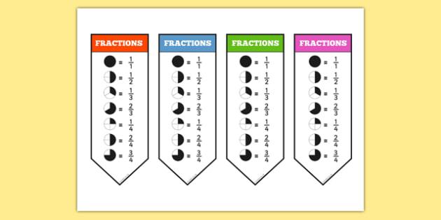 Year 2 Fraction Bookmarks - fraction, bookmarks, year 2, book