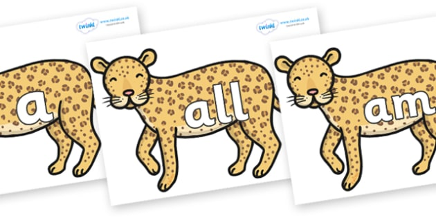 Foundation Stage 2 Keywords on Leopards - FS2, CLL, keywords, Communication language and literacy,  Display, Key words, high frequency words, foundation stage literacy, DfES Letters and Sounds, Letters and Sounds, spelling