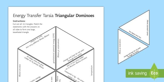 Energy Transfers Triangular Dominoes - Tarsia, Dominoes, Energy Transfers, Energy, Conservation of Energy, Gravitational Potential Energy, , plenary activity
